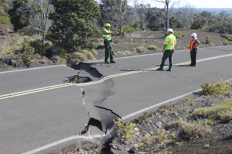 Large sink hole and crack on Crater Rim Drive near Keanakāko'i