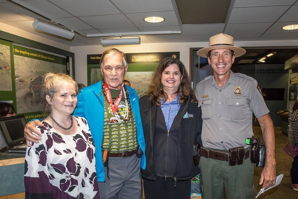 Dave Parker poses with park partners and Chief Ranger