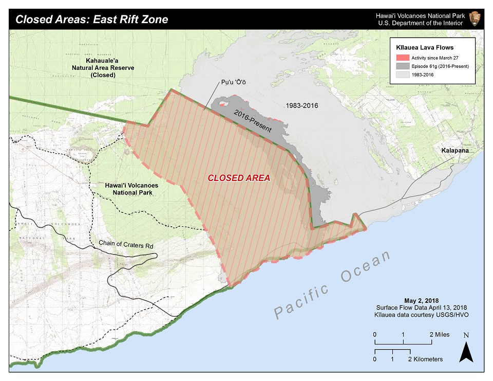 Map showing closure in the volcano's east rift zone