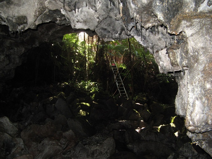 Ladder to the entrance of Puapo'o lava tube