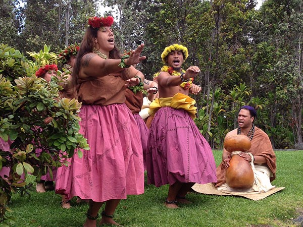 Hālau o Akaunu performing on the park's pā hula