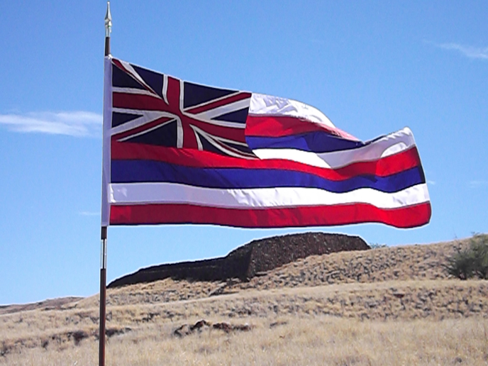 Hawaiian flag at Pu'ukohola Heiau National Historic Site