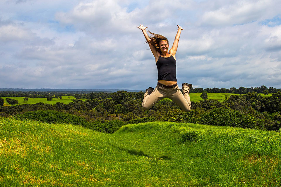 "Photo of Kahuku visitor ""jumping for joy"" in Hawai`i Volcanoes National Park"