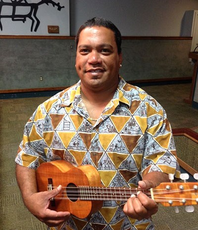 Musician Kai Ho'opi'i at Kīlauea Visitor Center auditorium