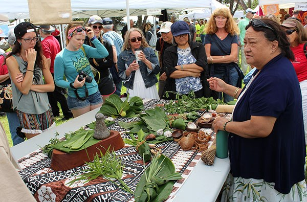 The medicinal use of Hawaiian plants is explained by Ka'ohu Monfort at the 2016 Cultural Festival.