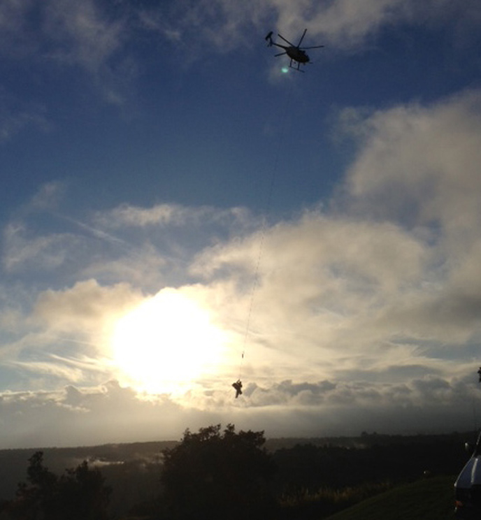 Helicopter rescue at sundown