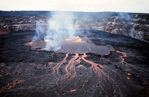 Lava lake and flows on Halema'uma'u Crater floor in 1968