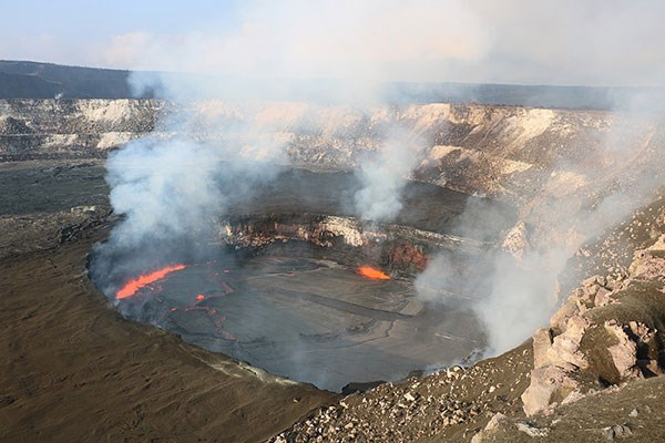 The summit lava lake at Halema'uma'u Crater, which has been active since March 19, 2008