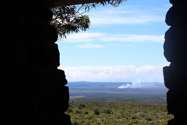 View of Kīlauea from Mauna Loa Lookout shelter
