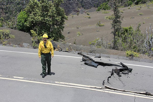 Damage to infrastructure within Hawaii Volcanos National Park. Primarily road damage caused by earthquake activity.