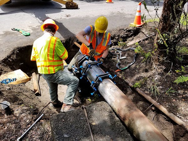 Park facilities and maintenance staff work on damaged water lines