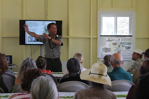 Ranger Jay Robinson describes the 1790 explosive eruption at the Coffee Talk in Kahuku