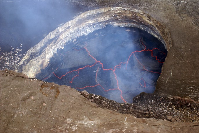 Aerial view of lava lake in Halemaʻumaʻu Crater