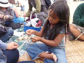 learning to make lauhala bracelet