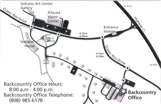 Map of Hawaii Volcanoes Backcountry Office