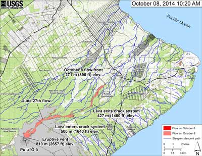 October 8, 2014 - small scale lava flow map