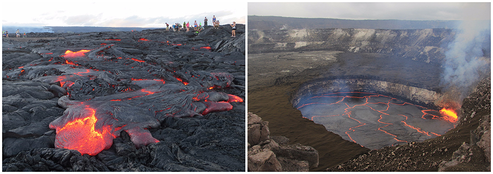 Pu'u 'Ō'ō lava flow in July 2016 and the summit lava lake within Halema'uma'u Crater in January 2016