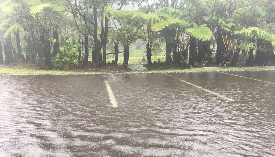 Kīlauea Visitor Center Parking Lot During Extremely Heavy Rain