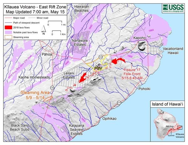 Kīlauea East Rift Zone Fissure Map