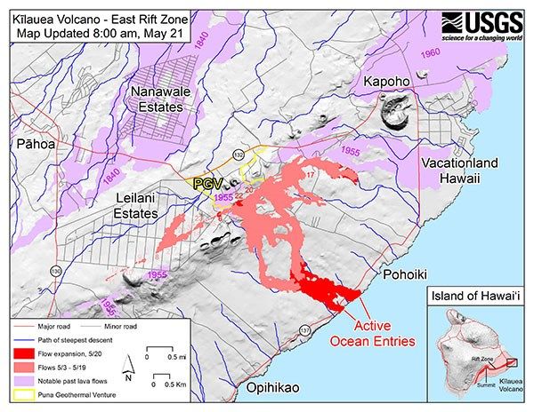 KÄ«lauea East Rift Zone Fissure Map