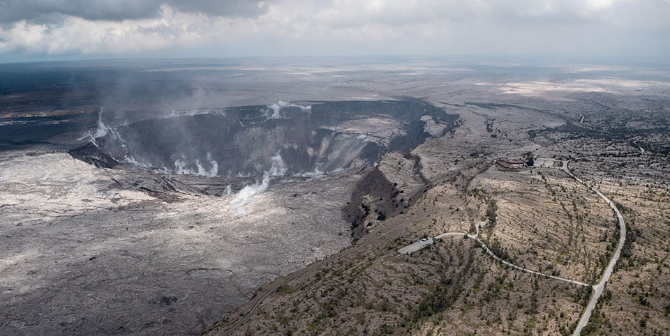 During the helicopter overflight on June 18, crews captured this image of the growing Halema'uma'u crater viewed to the southeast