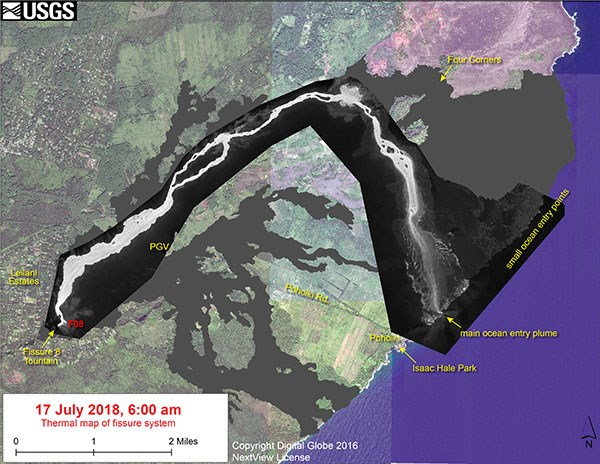 Thermal map of fissure system and lava flows