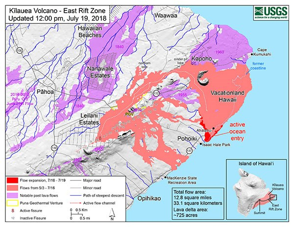 Kīlauea East Rift Zone Fissures and Flows