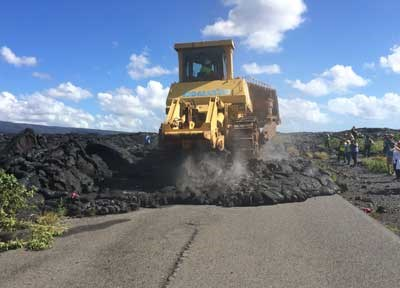 Bulldozer begins work on end of Chain of Craters Road