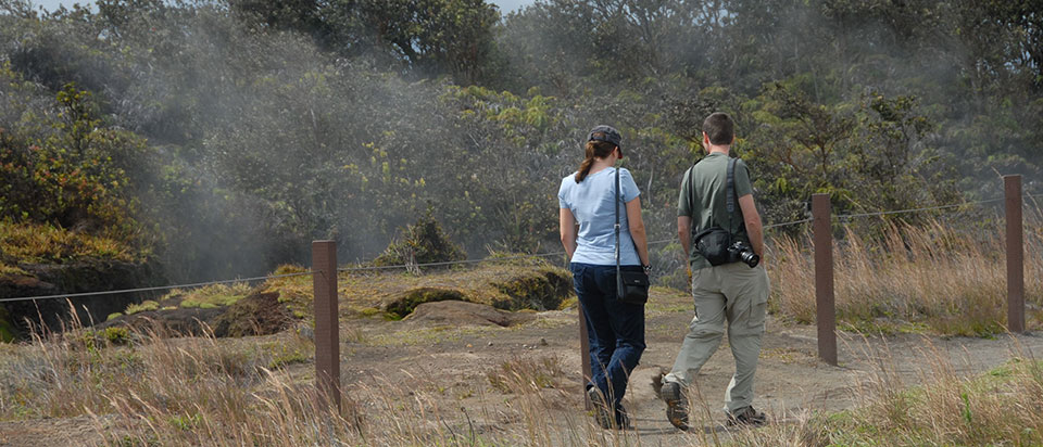 Hiking Crater Rim Trail along Steam Vents