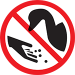"A ""no"" symbol over a human hand feeding a goose"