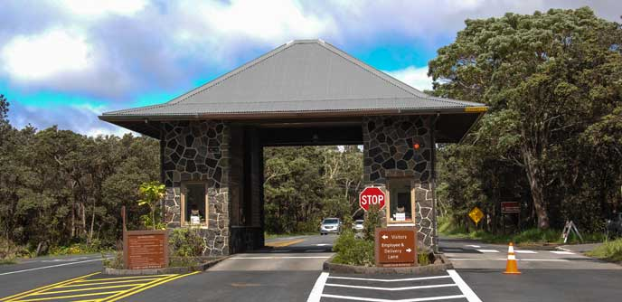 Entrance Station - Kīlauea Visitor Center is a Short Distance Ahead on the Right