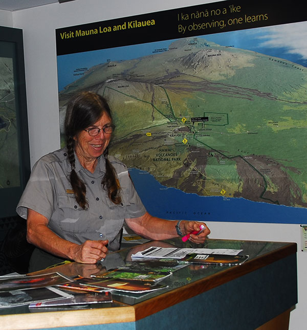 Ranger Diana at the Kīlauea Visitor Center Information Desk
