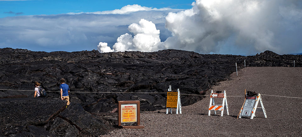 Access to the lava flow ocean entry from Kalapana