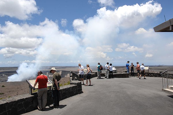 The overlook outside of Jaggar Museum offers the best view of Halema'uma'u and the eruptive vent.