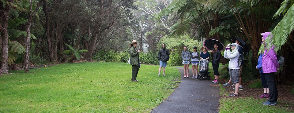 Ranger Pauline Leads a Group of Visitors on an Interpretive Hike