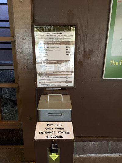 Self Pay Station on the Lānai at Kīlauea Visitor Center