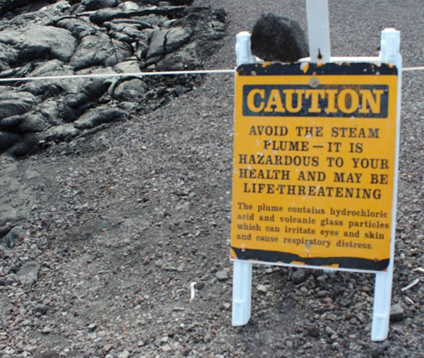 Caution sign - avoid the stream plume