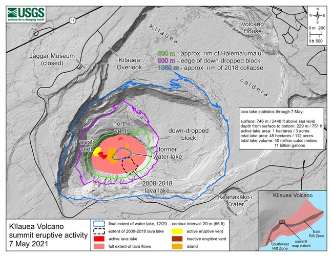 Map describing current activity of Kīlauea volcano. The map shows that the lava lake has filled 229 m (751 ft) of the crater, to an elevation of 746 m (2448 ft) asl since the eruption began on December 20, 2020.