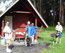 Jim helps Bob and Mike waterproof the gear.....just in case...