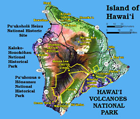Island of Hawai`i map showing the location of Hawai`i Volcanoes National Park and the 3 other national parks on the Big Island.