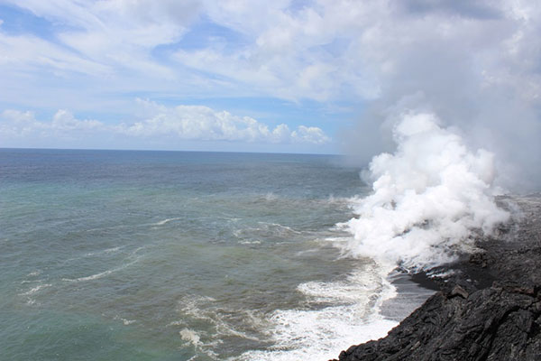 Photo taken from the Kalapana side of the Kamokuna ocean entry, upwind of the toxic plume