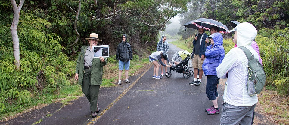 "Ranger Pauline Leads Group of Visitors on ""Exploring the Summit"" hike"