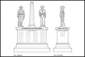 Measured line drawing of World War I Monument in Oakland Illinois (HABS IL-252)