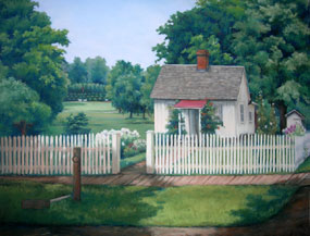 Pastel of a small white cottage with a white picket fence and green trees with a view of a gravesite on a hill beyond.