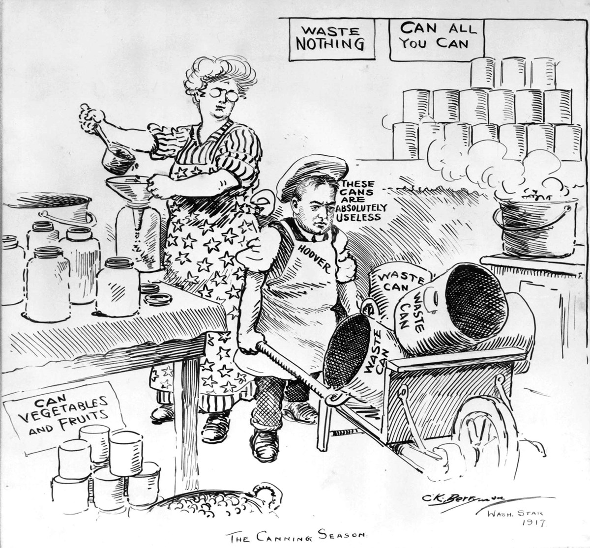 A political cartoon depicts a kitchen representing wartime food conservation.
