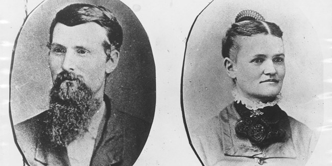 Oval portrait photos show a man and woman from the late 1800s.