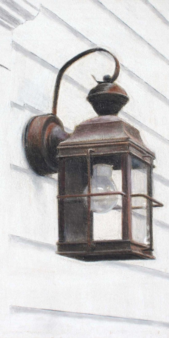 A colored pencil drawing depicts an old fashioned lantern affixed to the white siding of a house.