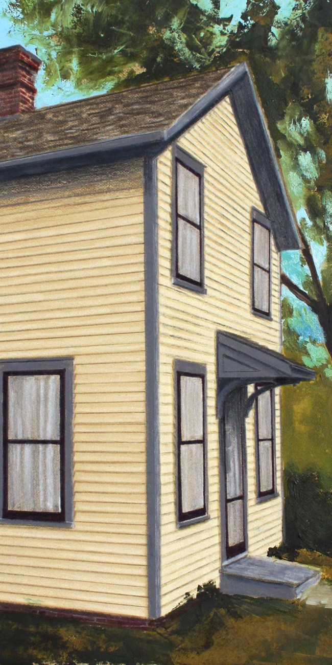 A painting depicts a boxy yellow two story house.