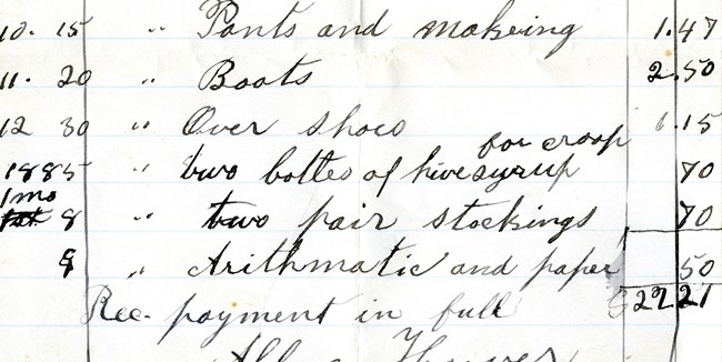 A portion of a hand-written ledger details child-rearing expenses like pants, boots, and medicine.