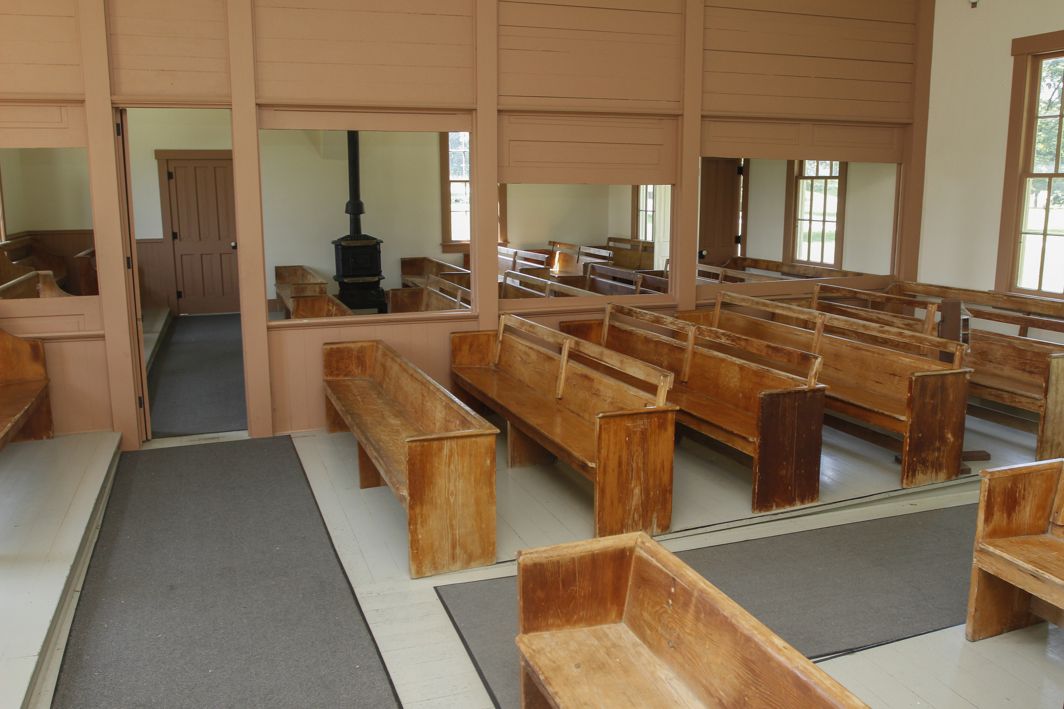 Benches inside Friends Meetinghouse at Herbert Hoover NHS